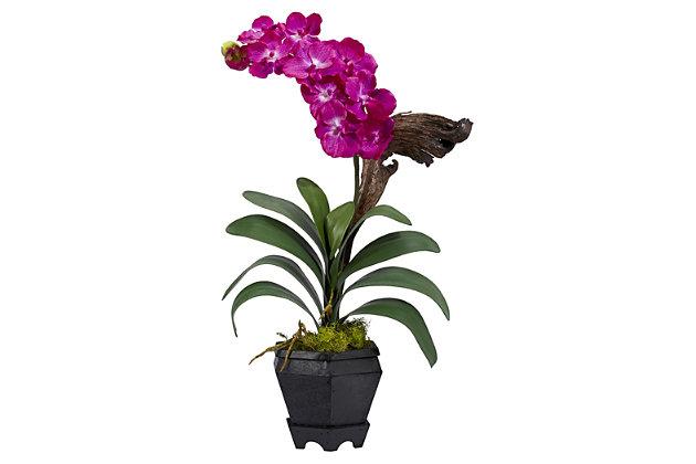 Home Accent Vanda with Black Hexagon Vase Silk Arrangement, , large