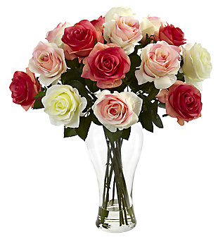 Home Accent Assorted Blooming Roses with Vase, , large