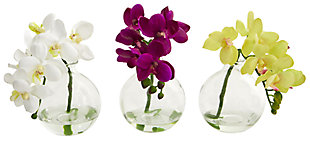 "Home Accent 9"" Phalaenopsis Orchid Artificial Arrangement (Set of 3), , large"