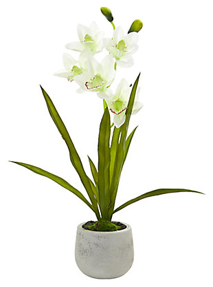 Home Accent Cymbidium Orchid Artificial Arrangement in Vase, , large