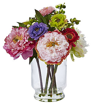Home Accent Peony and Mum in Glass Vase, , rollover