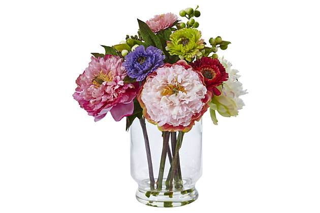 Home Accent Peony and Mum in Glass Vase, , large
