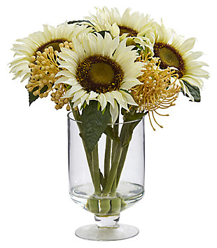 "Home Accent 12"" Sunflower & Sedum Artificial Arrangement in Vase, , large"