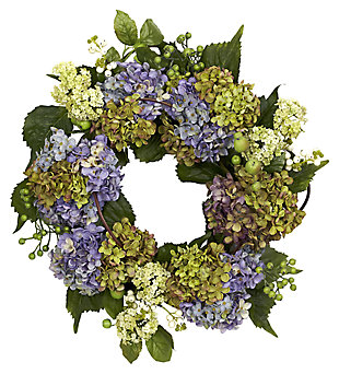 "Home Accent 22"" Hydrangea Wreath, , large"