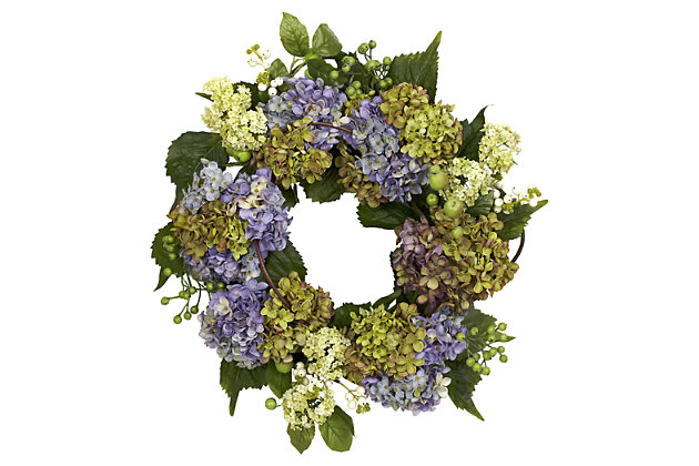"""Home Accent 22"""" Hydrangea Wreath, , large"""