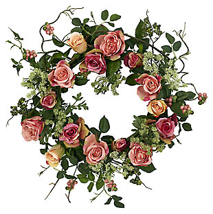 "Home Accent 20"" Rose Wreath, , large"