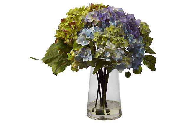 Home Accent Hydrangea with Glass Vase Silk Flower Arrangement, , large