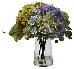 Home Accent Hydrangea with Glass Vase Silk Flower Arrangement, , rollover