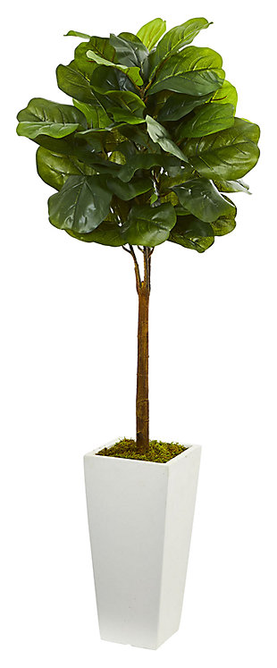 Home Accent 4' Fiddle Leaf Artificial Tree in White Tower Planter, , large