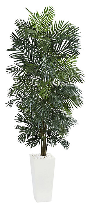 Home Accent 7' Areca Artificial Tree in White Tower Planter, , large