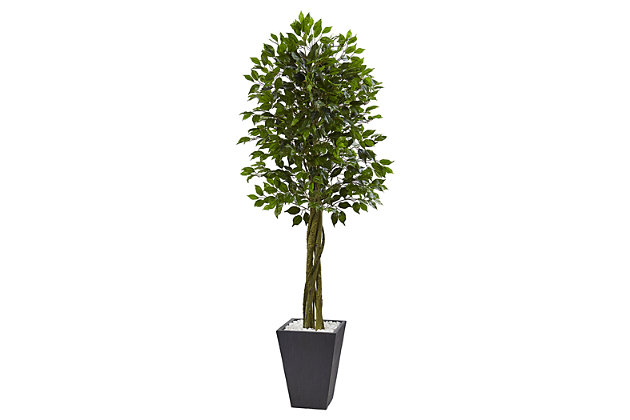 Home Accent 6.5' Ficus Tree with Slate Planter UV Resistant, , large