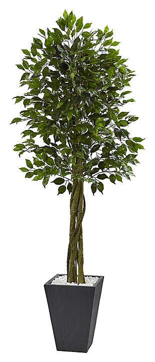 Home Accent 6.5' Ficus Tree with Slate Planter UV Resistant, , rollover