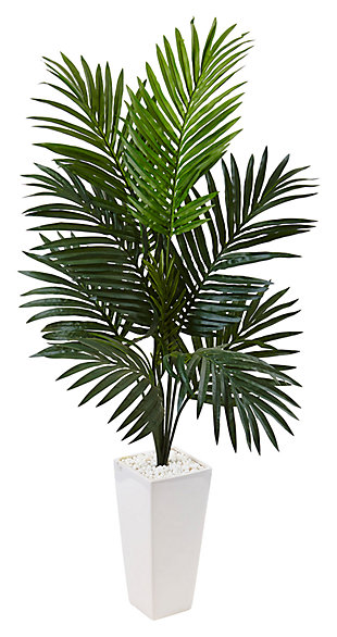 Home Accent 4.5' Kentia Palm Tree in White Tower Planter, , large