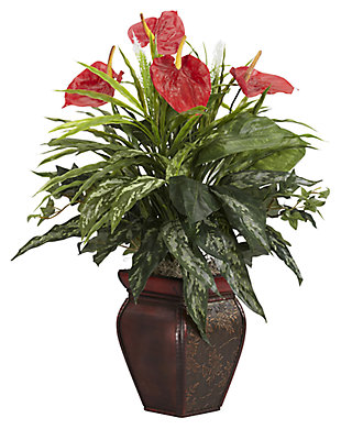 Home Accent Mixed Greens & Anthurium with Decorative Vase Silk Plant, , large