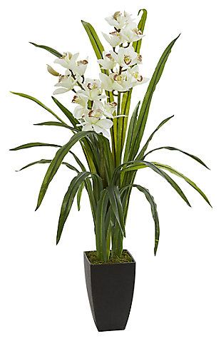 "Home Accent 39"" Cymbidium Orchid Artificial Plant, , rollover"