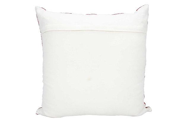 Modern Flag Stripes Luminescence Red/White Pillow, , large