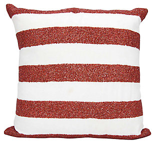 Modern Flag Stripes Luminescence Red/White Pillow, , large