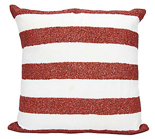 Modern Flag Stripes Luminescence Red/White Pillow, , rollover