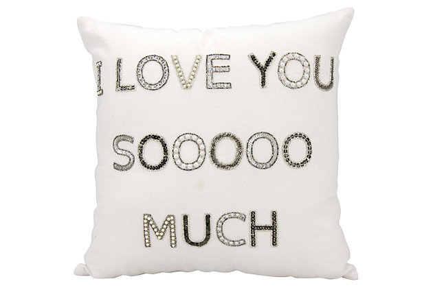 Modern I Love You Sooo Much Luminescence White Pillow, , large