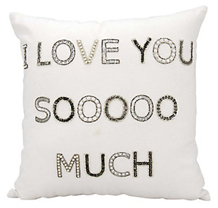 Modern I Love You Sooo Much Luminescence White Pillow, , rollover