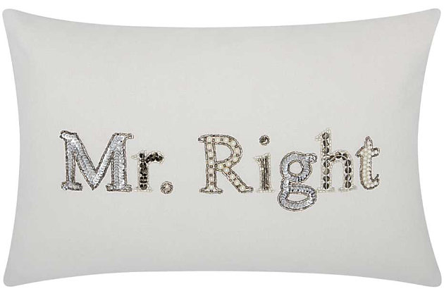 Modern Mr Right Luminescence White 6 in. Pillow, , large