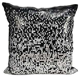 Modern Gradual Sequin Luminescence Black/Silver Pillow, , large