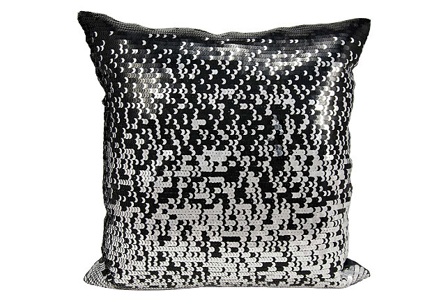 Modern Gradual Sequin Luminescence Black/Silver Pillow, , large