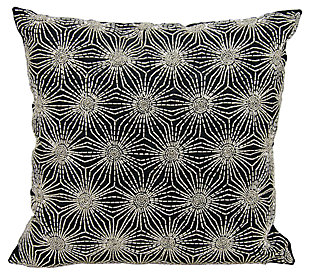 Modern Beaded Sun Stars Luminescence Black/Silver Pillow, , large