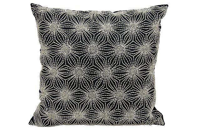 Modern Beaded Sun Stars Luminescence Black/Silver Pillow, , large