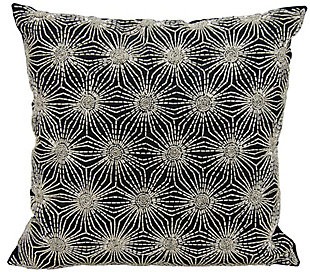 Modern Beaded Sun Stars Luminescence Black/Silver Pillow, , rollover