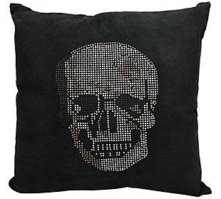Modern Rhinestone Skull Luminescence Black Pillow, , rollover