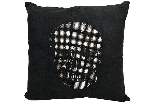 Modern Rhinestone Skull Luminescence Black Pillow, , large