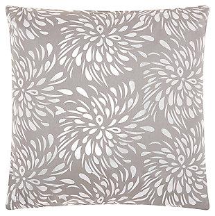 Modern Metallic Splash Luminescence Silver Grey Pillow, , large