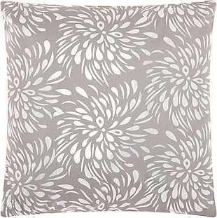 Modern Metallic Splash Luminescence Silver Grey Pillow, , rollover