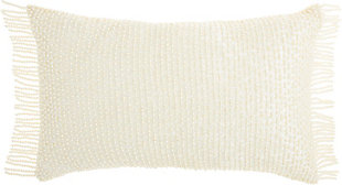 Modern Pearl Fringe Luminescence Ivory Pillow, , large
