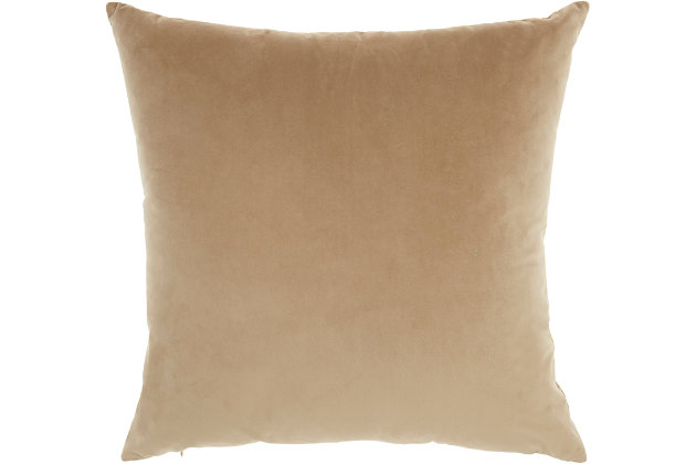 Modern Metallic Splash Luminescence Beige Pillow, Beige, large
