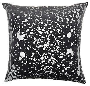 Modern Metallic Splash Luminescence Charcoal Pillow, Gray, large