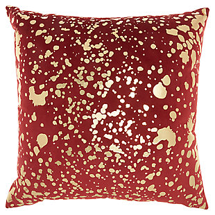 Modern Metallic Splash Luminescence Deep red Pillow, Red, large