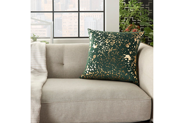 Modern Metallic Splash Luminescence Emerald Pillow, Green, large