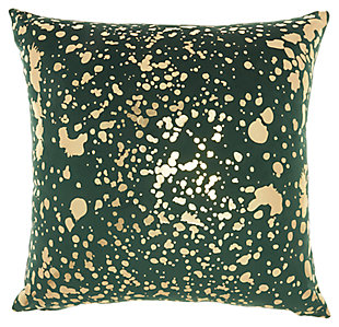 Modern Metallic Splash Luminescence Emerald Pillow, , large