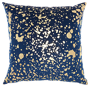 Modern Metallic Splash Luminescence Navy Gold Pillow, , large