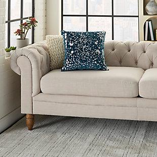 Modern Metallic Splash Luminescence Teal Pillow, , rollover