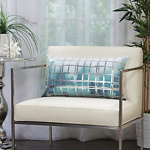 Modern Metallic Grid Luminescence Celadon Pillow, Blue/Silver, rollover