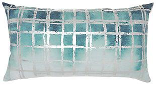 Modern Metallic Grid Luminescence Celadon Pillow, Blue/Silver, large