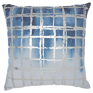 Modern Metallic Grid Luminescence Ocean Pillow, Blue/Silver, large