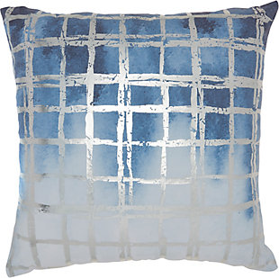 Modern Metallic Grid Luminescence Ocean Pillow, Blue/Silver, rollover