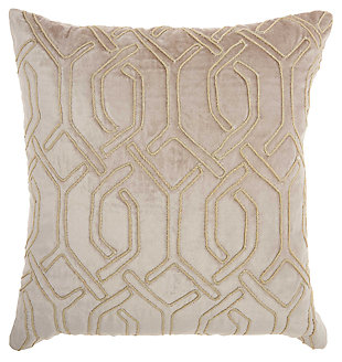 Modern Embroid Interlock Luminescence Beige Pillow, , large