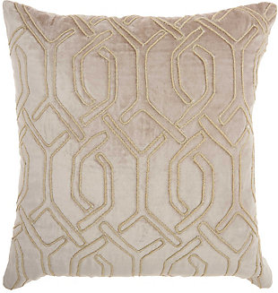 Modern Embroid Interlock Luminescence Beige Pillow, , rollover