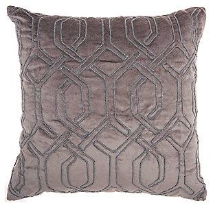 Modern Embroid Interlock Luminescence Dark Grey Pillow, , large