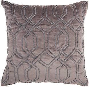 Modern Embroid Interlock Luminescence Dark Grey Pillow, , rollover